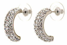 Swarovski Elements Crystal Palace Hoop Pierced Earrings Rhodium Authentic 7237y