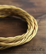 Twisted coloured fabric lighting cable flex: Strong Gold - sold per metre