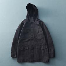Retro Hooded Men's Windbreaker Loose Workwear Canvas Jacket