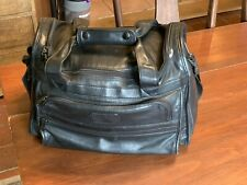 Tumi Black Leather Gym Duffle Carry-On Bag Suitcase