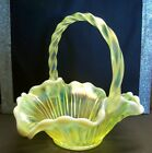 Fenton 8 inch Green Citrine Opalescent Basket with Applied Glass Handle