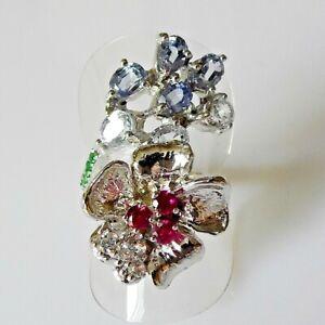 Unikat Feiner Lavendel Saphir Rubin Tsavorit Blüten Ring 925er Silber 17,2 mm 54