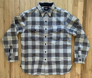 RRL / Double RL Fully Woven Jacquard Plaid Shirt, Size L, Grey/ Off-White