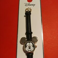 DISNEY Mickey Mouse Watch Girls Fun Gift Faux Leather Black Strap Character Face