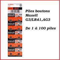 Piles boutons alcaline 1.5V G3/LR41/AG3 de marque MAXELL, de 1 à 100 piles
