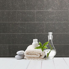 Kitchen and Bathroom Black Glitter Tile Wallpaper London Brick Tiling M1055