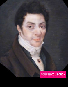 ANTIQUE 1830s FRENCH MINIATURE HAND PAINTED WATERCOLOR  Young man Portrait