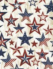 Timeless Treasures Fabrics Patriotic Novelty Fabric Natural Americana Stars