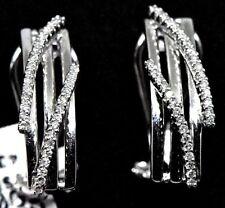 Designed 14K (585) White Gold Earrings: 0.62 Ct T.W. Round Diamonds- Omega Clip.