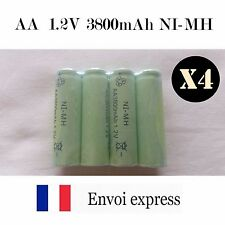 Lot 4X Piles AA NI-MH 1,2V 3000mAh rechargeable neuves - Battery R06 new Accu