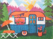 """Latch Hook Rug making Kit   """"HAPPY CAMPER"""" Holiday rug UK seller"""