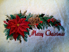 MERRY CHRISTMAS SWAG OF BEAUTY SET OF 2 BATH HAND TOWELS EMBROIDERED