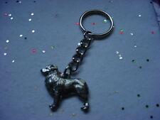Australian Shepherd Dog Pewter Silver Keychain Christmas Ornament KeyRing Aussie