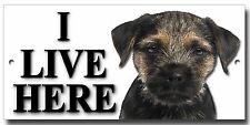 "BORDER TERRIER ""I LIVE HERE"" METAL SIGN,PREMIUM QUALITY SIGN.DOG WARNING SIGN."