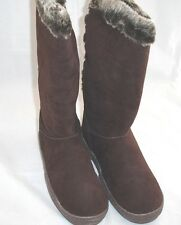 Rampage Solid Brown Faux Suede Fur Trimmed Flat BOOTS Womens Sz 9.5