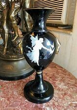 Antique Mary Gregory Pate-sur-Pate Black Glass Vase.