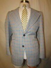 0d7a4356948 mens vintage sears plaid polyester knit sports coat blazer S 38 blue tan  plaid