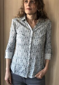EX MISTRAL WOMAN'S GREY & IVORY HARE & LEAF PRINT BUTTON JERSEY TOP SIZES 8-18