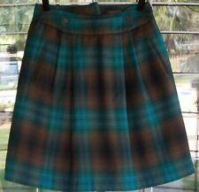 Chadwicks Teal & Brown  Knee Length Lined Wool Blend Skirt Sz. 14