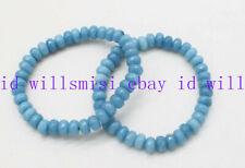 Rondelle Gemstone Stretch Bracelet 7.5'' Aaa 2 Pcs Natural 5x8mm Blue Aquamarine