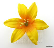 "3.5"" Hot Yellow Lily Silk Flower Hair Comb, Rockabilly,Pin Up"