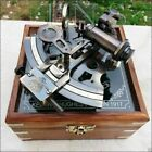 Collectible Antique Nautical Brass Working German Marine Sextant w  Wooden Box