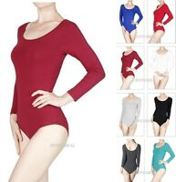 NEW SOFT BASIC ROUND NECK COTTON SPANDEX 3/4 SLEEVE BODYSUIT LEOTARD TOP S-M