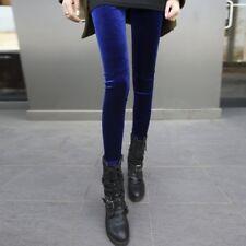 Women High Waist Shiny Velvet Velour Leggings Plush Soft Pants Trousers Solid