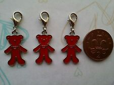3 Pcs Enamel Red Bear Clip On Charms