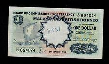 MALAYA AND BRITISH  BORNEO 1 DOLLAR 1959 B/88 P. TDLR PICK # 8A VF.
