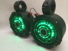 KICKER FL BLK GREEN LED's Wakeboard Tower Boat Cage Speakers UTV/ATV RZR Can Am
