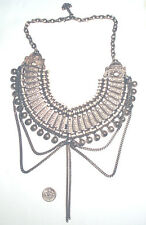 Fabulous VINTAGE Silver Tone ETHNIC Tribal COLLAR Ornate BIB NECKLACE