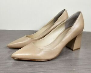 Marc Fisher Zala Block Heel Pump, Nude Leather, Womens Size 6 & 7.5