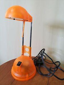 Working! - Vintage Retro Desk Lamp Light Clear Orange Halogen Telescopic