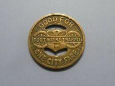 FORT WAYNE TRANSIT TOKEN GOOD FOR ONE CITY FARE 1950'S -60'S 16mm Bronze Rare