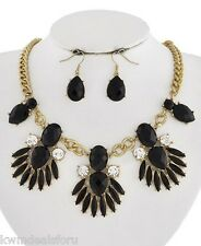 """Ladies Fashion Jewelry Gold Black Floral 17"""" Necklace Teardrops Earrings Set"""