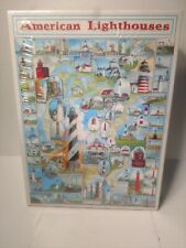 Vintage White Mountain Puzzles 1000pc American Lighthouses Sealed