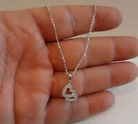 DOUBLE HEART PENDANT NECKLACE W/ .75 CT LAB DIAMONDS/ 925 STERLING SILVER /18''