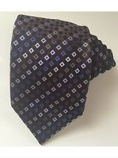 Burberry men tie brown square blue 100 % silk excellent condition