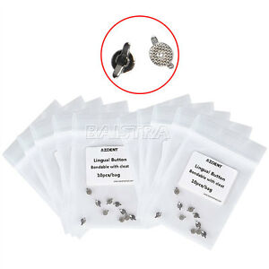 20 Bags Dental Ortho Lingual Buttons Mesh Base Bondable w/ Cleat (Double Wing)