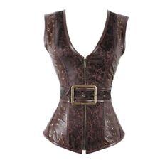 Women Brown Faux Leather Corset Top Gothic Steamppunk Corset Vest Outwear S-XXL