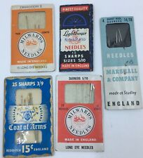 Lot of Vintage Hand Sewing Needles Milwards Marshall Coat Of Arms Lighthouse