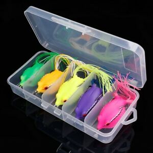 5pcs/Box Ray Frog TopWater Wobblers Pike Fishing Lures Set Of Soft Lure Silicone