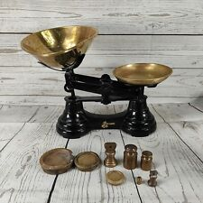 More details for vintage librasco tradition weighing scales & 8 mixed shaped weights imperial
