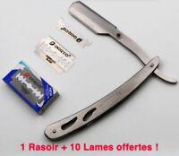 Rasoir à Lame Coupe Choux Barbier Pliant Rasage Coupe Chou 10 Lames Offertes