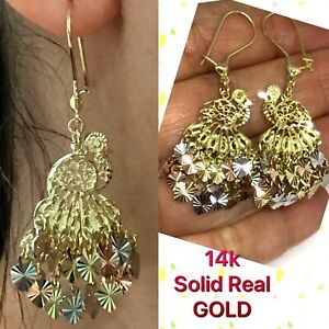 "GOLD peacock Chandelier Earring 14k solid real Filigree Gypsy long dangle 2"""
