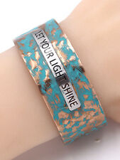 LET YOUR LIGHT SHINE TEAL COPPER LOOK CUFF BANGLE BRACELET GREAT GIFT NEW