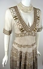 $372. Johnny Was BIYA Beige/Brown Cocktail Formal Dress NWT L Lace Sheer Flared