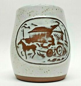 Vintage Vermont Onion River Pottery covered bridge sugar bowl vase succulent