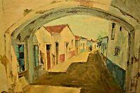 MORAIS Original Signed Impressionist Town Figure Village Cityscape Oil Painting